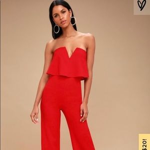 Lulu's Red Strapless Jumpsuit. Size Small.